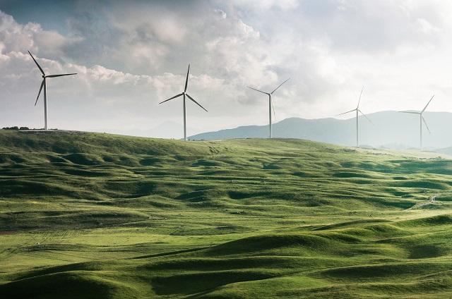 Turbiny wiatrowe na polu